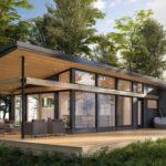 แบบบ้านพักตากอากาศรูปทรงตัวแอล ดีไซน์กะทัดรัด เปิดรับแสงธรรมชาติ 2 ห้องนอน 1 ห้องน้ำ พื้นที่ใช้สอย 72 ตร.ม.