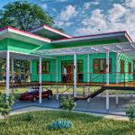 แบบบ้านในสวนยกพื้นสูง โครงสร้างเหล็กกรุไม้ฝาเทียม 2 ห้องนอน 2 ห้องน้ำ พร้อมระเบียงกว้าง