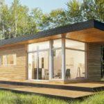 แบบบ้านโมเดิร์นทรงกล่องทันสมัย อบอุ่นด้วยผนังไม้ 1 ห้องนอน 1 ห้องน้ำ ท่ามกลางบรรยากาศธรรมชาติ
