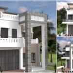 แบบบ้านทรงตึกพร้อมระเบียงดาดฟ้า ตกแต่งด้วยโทนสีขาวผสมอิฐหินทรายสีเทา 4 ห้องนอน 5 ห้องน้ำ สำหรับครอบครัวใหญ่