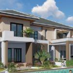 แบบบ้านสองชั้นหลังใหญ่ สไตล์ร่วมสมัย 5 ห้องนอน 5 ห้องน้ำ พร้อมสระว่ายน้ำ พื้นที่ใช้สอย 342 ตร.ม.