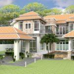 แบบบ้านสองชั้นหลังใหญ่ สไตล์คอนเทมโพรารี 5 ห้องนอน 5 ห้องน้ำ พร้อมโรงจอดรถหน้าบ้าน