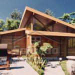 แบบบ้านไม้สไตล์โมเดิร์น โดดเด่นด้วยหลังคาเพิงหมาแหงน 2 ห้องนอน 1 ห้องน้ำ พื้นที่ใช้สอย 50.33 ตร.ม.