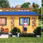 แบบบ้านชั้นเดียวขนาดเล็ก โทนสีเหลืองสดใส 3 ห้องนอน 2 ห้องน้ำ พื้นที่ใช้สอย 63 ตร.ม.