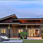 แบบบ้านโมเดิร์นรูปทรงตัวแอล (L-Shaped House) โทนสีเทาเข้ม หลังคาเล่นระดับ 3 ห้องนอน 1 ห้องน้ำ พื้นที่ใช้สอย 68 ตารางเมตร