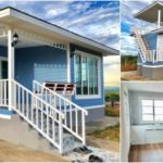 บ้านชั้นเดียวสไตล์คันทรี โทนสีฟ้าสบายตา พร้อมระเบียงดาดฟ้า 2 ห้องนอน 2 ห้องน้ำ พื้นที่ใช้สอย 70 ตร.ม.