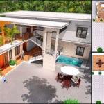 แบบบ้านสองชั้นสไตล์โมเดิร์น ดีไซน์รูปทรงตัวแอล (L-Shaped House) 5 ห้องนอน 6 ห้องน้ำ พร้อมดาดฟ้าเปิดโล่ง