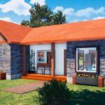 แบบบ้านสไตล์รัสติครูปตัวแอล (L-Shaped House) บรรยากาศอบอุ่นเป็นธรรมชาติ 3 ห้องนอน 2 ห้องน้ำ
