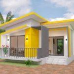 แบบบ้านโมเดิร์นหลังเล็ก โทนสีขาวเหลือง  ดีไซน์เพื่อครอบครัวขนาดเล็ก 2 ห้องนอน 1 ห้องน้ำ พื้นที่ 82.5 ตร.ม.
