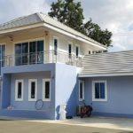 บ้านคอนเทมโพรารีสองชั้น ตกแต่งหรูหรา โทนสีฟ้าขาว 4 ห้องนอน 2 ห้องน้ำ ครบทุกฟังก์ชันการใช้งาน