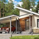 แบบบ้านโมเดิร์น ดีไซน์หลังคาทรงสโลปโดดเด่น 2 ห้องนอน 1 ห้องน้ำ พร้อมเฉลียงกว้างหลังบ้าน
