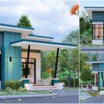 แบบบ้านสไตล์โมเดิร์นทรงหน้าแคบ โทนสีฟ้าเย็นสบาย 2 ห้องนอน 2 ห้องน้ำ พื้นที่ใช้สอย 60 ตร.ม.